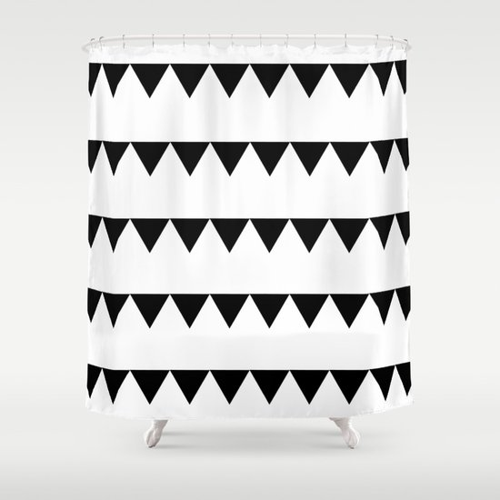 TRIANGLE BANNERS (Black) Shower Curtain