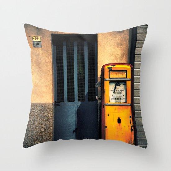 Italian Gas Station Throw Pillow
