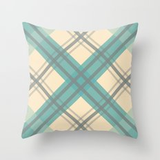 Teal Pastel Plaid Throw Pillow