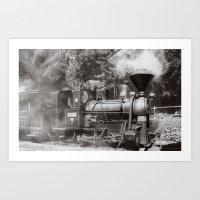 Train and steam Art Print