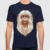 The White Angry Monkey Mens Fitted Tee Navy SMALL