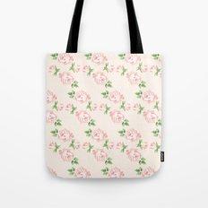 Pink Vintage Roses Pattern Tote Bag