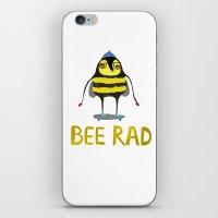 Bee. bee art, bee illustration, nature, illustration, wall, kids, skater, skateboarding, rad,  iPhone & iPod Skin