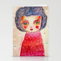 Strawberry girl Stationery Cards