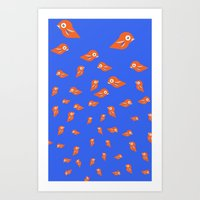 Pretty Orange Birds Art Print