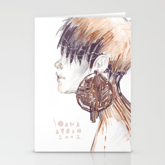 Fashion illustration profile portrait gold black white markers and watercolors Stationery Card