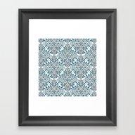 Damask Nature Blue Framed Art Print
