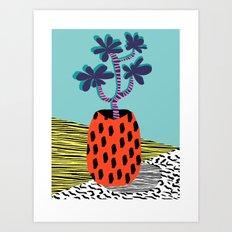 Spazzing - throwback house plant retro 1980s style memphis design neon art pop art print dorm room h Art Print