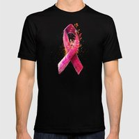 Breast Cancer Ribbon Mens Fitted Tee Black SMALL