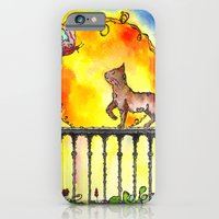 iPhone & iPod Case featuring Cat and Butterfly by  MaiCat