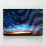 iPad Case featuring Sunset And American Flag by Annie Zeno