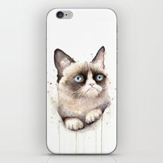 Grumpy Watercolor Cat iPhone & iPod Skin