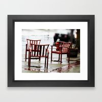 Chairs Arranged in the Rain Framed Art Print