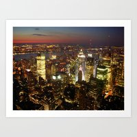 New York Empire State Night Art Print
