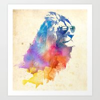 lion Art Prints featuring Sunny Leo   by Robert Farkas