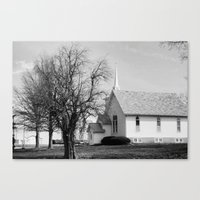 Country Church On Sunday. Canvas Print