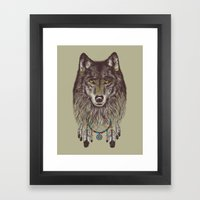 Wind Catcher Wolf Framed Art Print