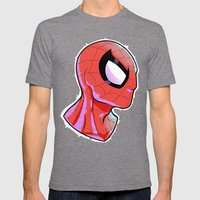 The Amazing Spider-Bust Mens Fitted Tee Tri-Grey SMALL