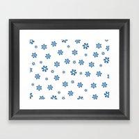 Snowflakes (Blue & Black on White) Framed Art Print