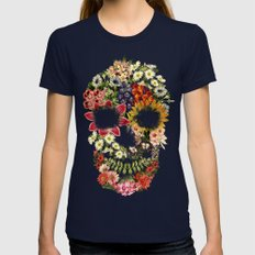Floral Skull Vintage Black Womens Fitted Tee Navy SMALL