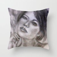 Pencil Portrait Drawing  - American Actress - Emma Stone Throw Pillow