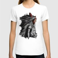 princess T-shirts featuring Miyazaki's Mononoke Hime Digital Painting the Wolf Princess Warrior Color Variation by Barrett Biggers