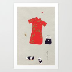 Chinese Silk Dress Outfit Art Print
