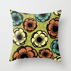 Bold Retro Flower Throw Pillow