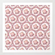 Watercolor Roses Pattern… Art Print