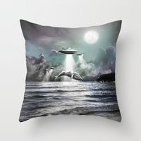 Whaling UFO Throw Pillow