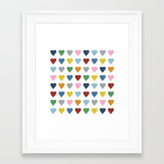 64 Hearts Framed Art Print