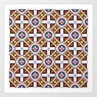 Wooden Cross Screen Patt… Art Print