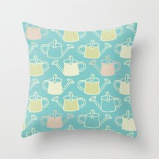 Watering Cans On Teal Throw Pillow