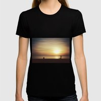 suMMer mOOd - beach sunset Womens Fitted Tee Black SMALL