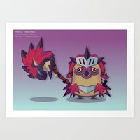 Pixel the Monster Hunting Pug Art Print