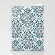 Damask Nature Blue Stationery Cards