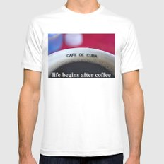 life begins after coffee SMALL White Mens Fitted Tee
