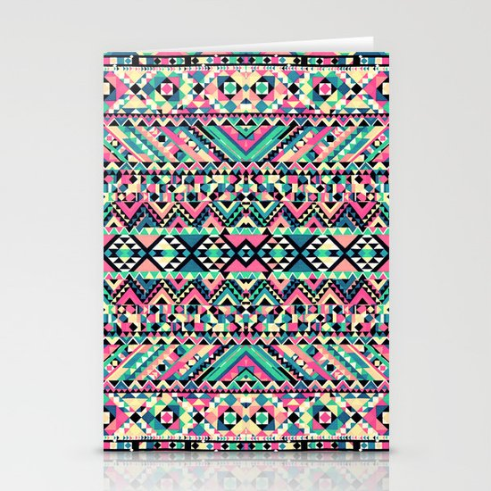 Pink Turquoise Girly Aztec Andes Tribal Pattern Stationery Card