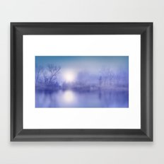 Foggy Morning at the Pond Framed Art Print