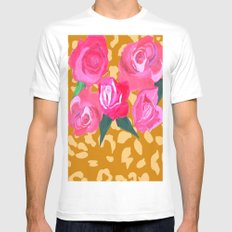 Floral and Tiger Print Mens Fitted Tee SMALL White