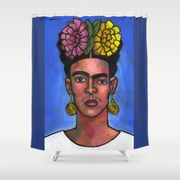 Frida on Blue Background Shower Curtain