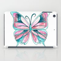 Pink and Blue Watercolor Butterfly iPad Case