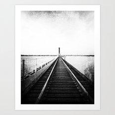 Rail Track through the Bay {Black and White} Art Print