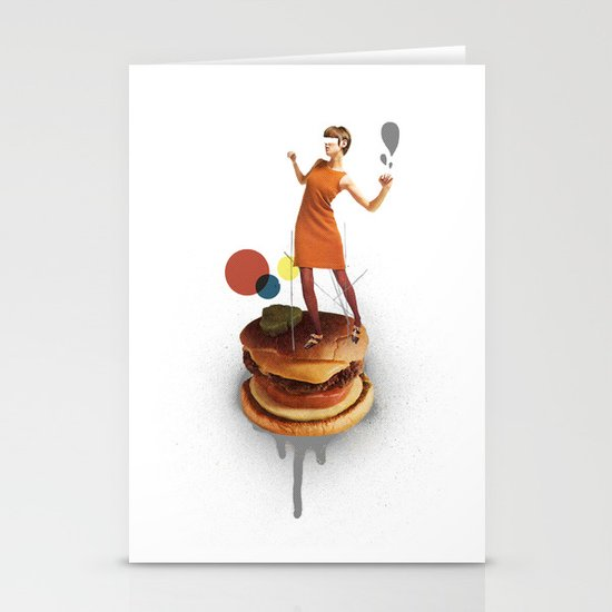 These Burgers Are Crazy | Collage Stationery Card