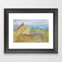 The Old Yellow Barn Framed Art Print
