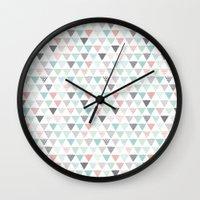 Geometric pastel triangle scandinavian style aztec print Wall Clock
