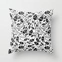 b&w flora pattern Throw Pillow