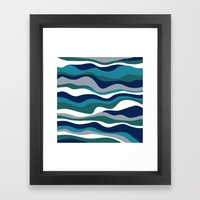 Cordillera Stripe: Teal Navy Combo Framed Art Print