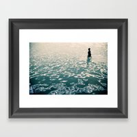 Lady in swimming pool Framed Art Print