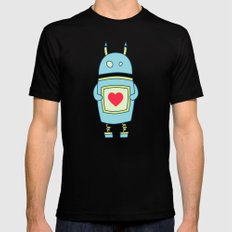 Blue Cartoon Robot With Heart SMALL Mens Fitted Tee Black